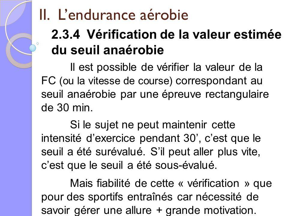II. Lendurance aérobie 2.3.4 Vérification de la valeur estimée du seuil anaérobie Il est possible de vérifier la valeur de la FC (ou la vitesse de cou