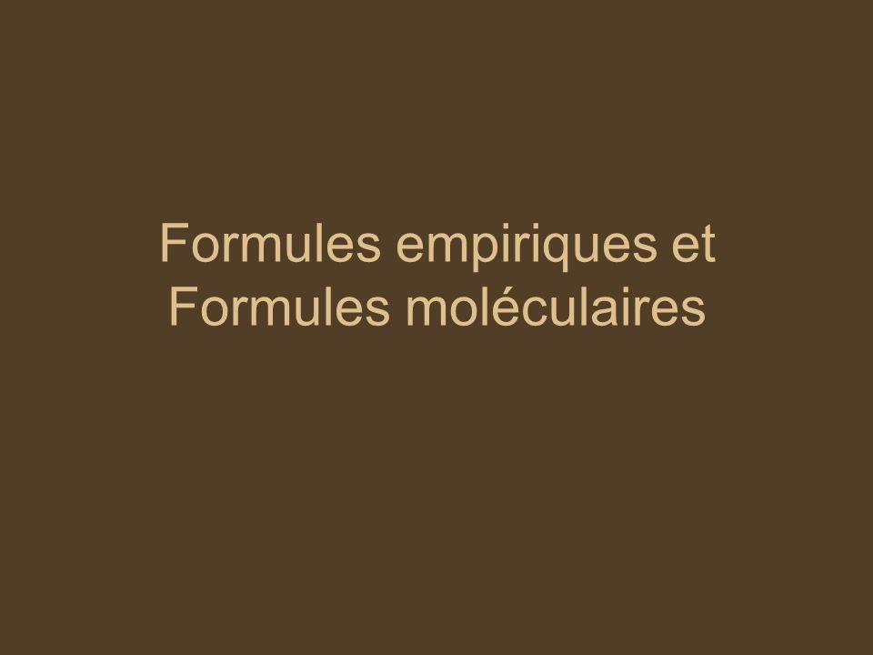 Formules empiriques et Formules moléculaires
