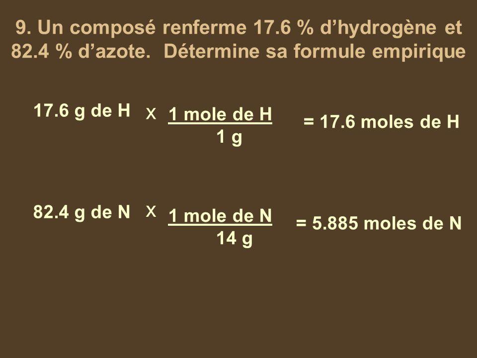 9. Un composé renferme 17.6 % dhydrogène et 82.4 % dazote. Détermine sa formule empirique 17.6 g de H 82.4 g de N x x 1 mole de H 1 g 1 mole de N 14 g