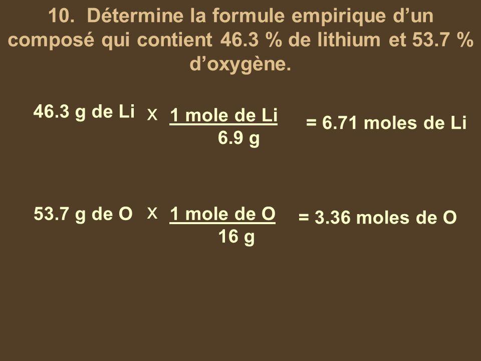 10. Détermine la formule empirique dun composé qui contient 46.3 % de lithium et 53.7 % doxygène. 46.3 g de Li 53.7 g de O x x 1 mole de Li 6.9 g 1 mo