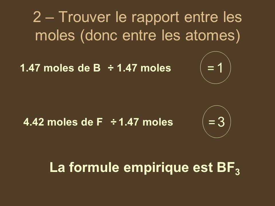 2 – Trouver le rapport entre les moles (donc entre les atomes) 1.47 moles de B 4.42 moles de F ÷ 1.47 moles = 1= 1 = 3= 3 La formule empirique est BF