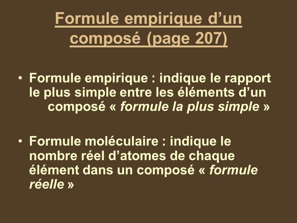 Formule empirique dun composé (page 207) Formule empirique : indique le rapport le plus simple entre les éléments dun composé « formule la plus simple » Formule moléculaire : indique le nombre réel datomes de chaque élément dans un composé « formule réelle »