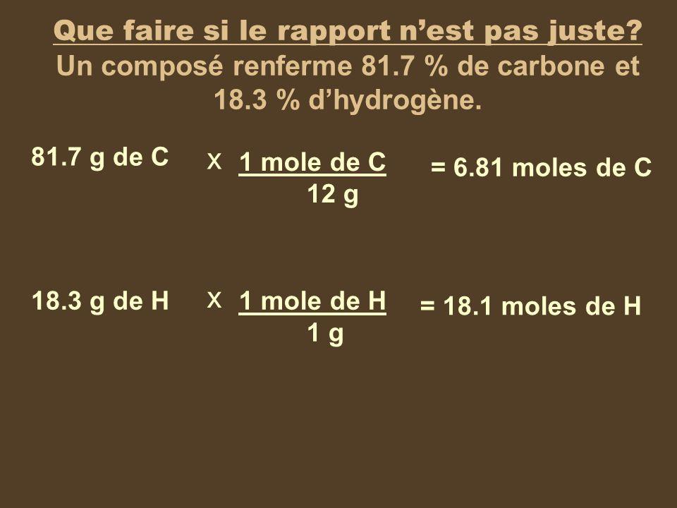 Que faire si le rapport nest pas juste? Un composé renferme 81.7 % de carbone et 18.3 % dhydrogène. 81.7 g de C 18.3 g de H x x 1 mole de C 12 g 1 mol