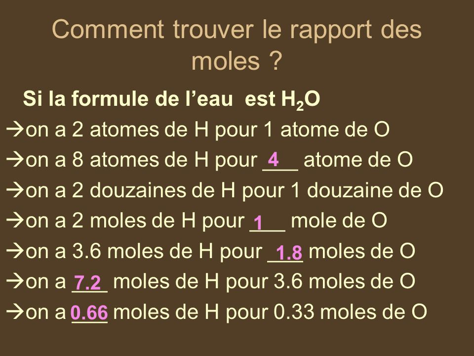 Comment trouver le rapport des moles ? Si la formule de leau est H 2 O on a 2 atomes de H pour 1 atome de O on a 8 atomes de H pour ___ atome de O on