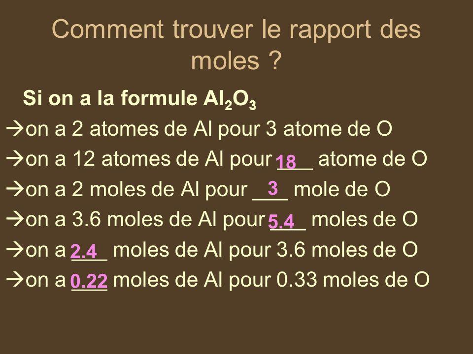 Comment trouver le rapport des moles ? Si on a la formule Al 2 O 3 on a 2 atomes de Al pour 3 atome de O on a 12 atomes de Al pour ___ atome de O on a