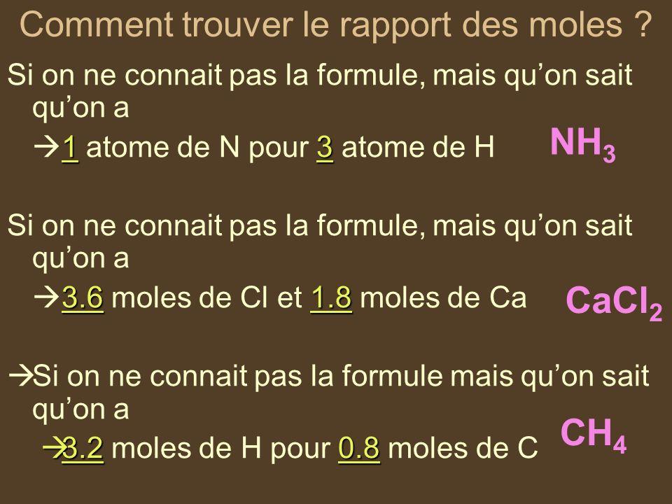 Comment trouver le rapport des moles ? Si on ne connait pas la formule, mais quon sait quon a 13 1 atome de N pour 3 atome de H Si on ne connait pas l
