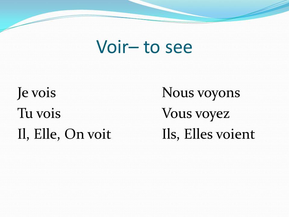 Partir – to go away, to leave Je parsNous partons Tu parsVous partez Il, Elle, On partIls, Elles partent