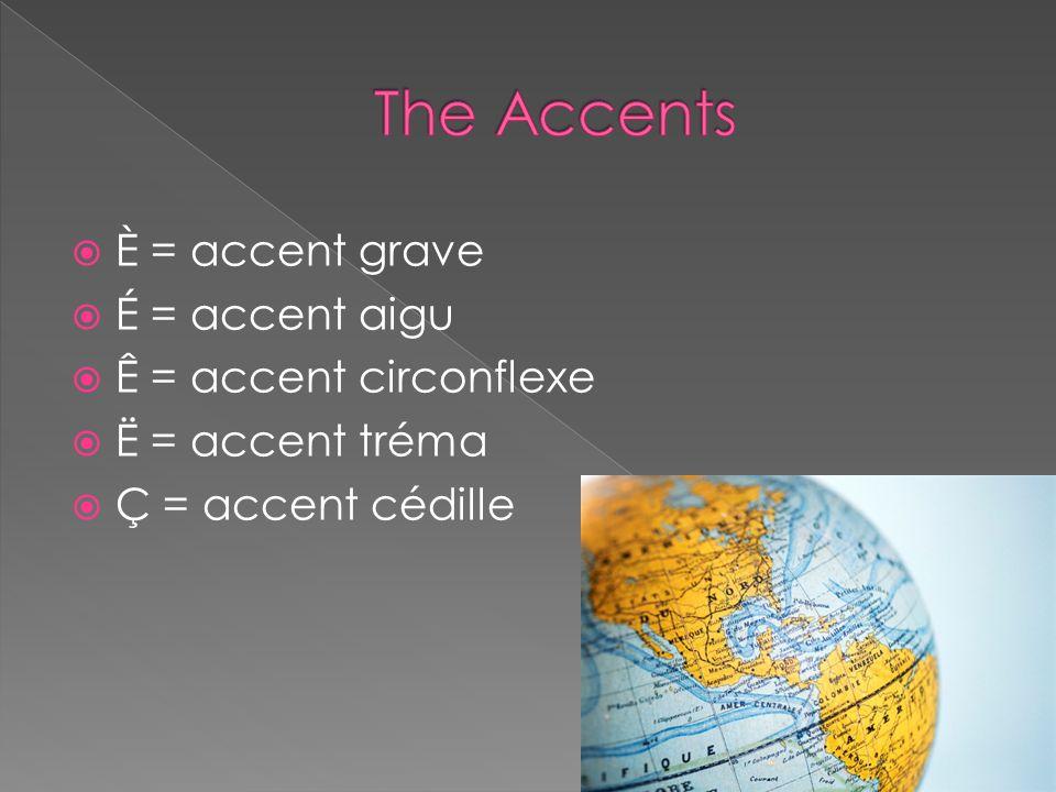 È = accent grave É = accent aigu Ê = accent circonflexe Ë = accent tréma Ç = accent cédille
