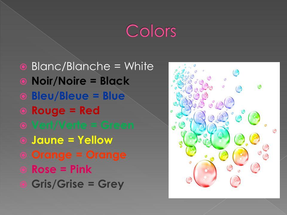 Blanc/Blanche = White Noir/Noire = Black Bleu/Bleue = Blue Rouge = Red Vert/Verte = Green Jaune = Yellow Orange = Orange Rose = Pink Gris/Grise = Grey