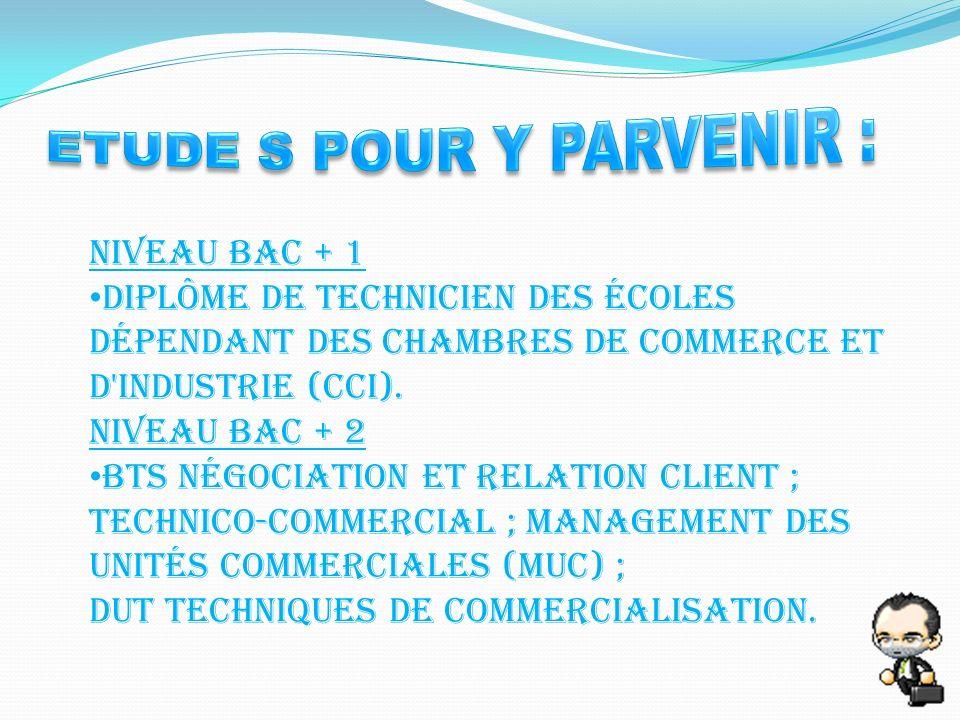 Niveau bac + 1 Diplôme de technicien des écoles dépendant des chambres de commerce et d industrie (CCI).
