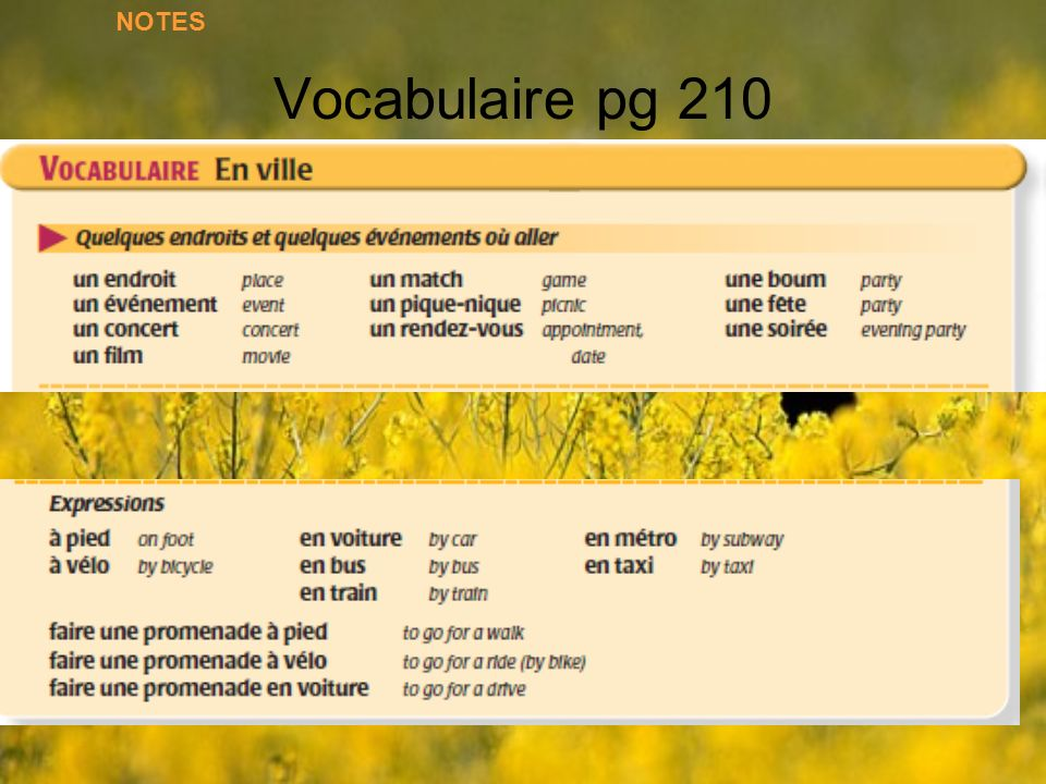 Vocabulaire pg 210 NOTES