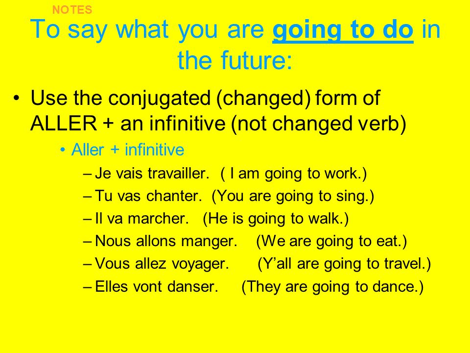 To say what you are going to do in the future: Use the conjugated (changed) form of ALLER + an infinitive (not changed verb) Aller + infinitive –Je vais travailler.