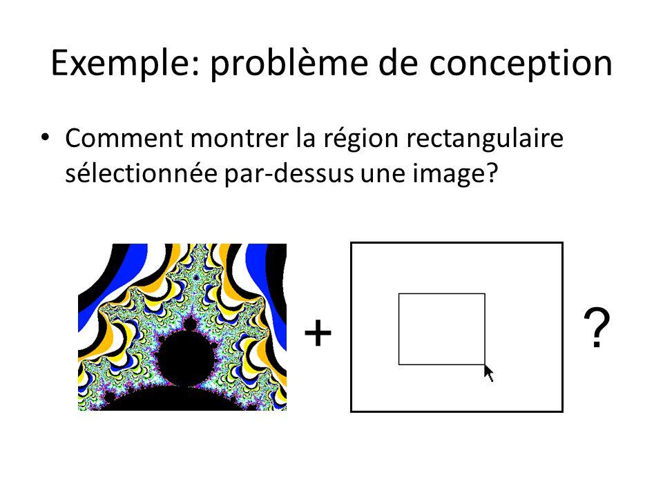Exemple: problème de conception Comment montrer la région rectangulaire sélectionnée par-dessus une image? + ?