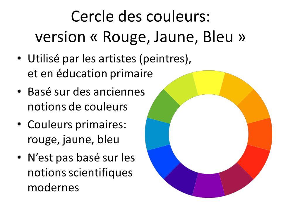 Cercle des couleurs: version « Rouge, Jaune, Bleu » Utilisé par les artistes (peintres), et en éducation primaire Basé sur des anciennes notions de couleurs Couleurs primaires: rouge, jaune, bleu Nest pas basé sur les notions scientifiques modernes