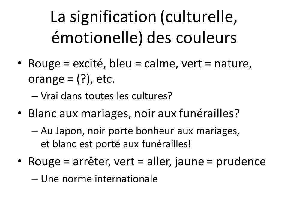 La signification (culturelle, émotionelle) des couleurs Rouge = excité, bleu = calme, vert = nature, orange = (?), etc.