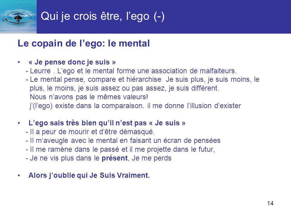 14 Qui je crois être, lego (-) Le copain de lego: le mental « Je pense donc je suis » - Leurre. Lego et le mental forme une association de malfaiteurs