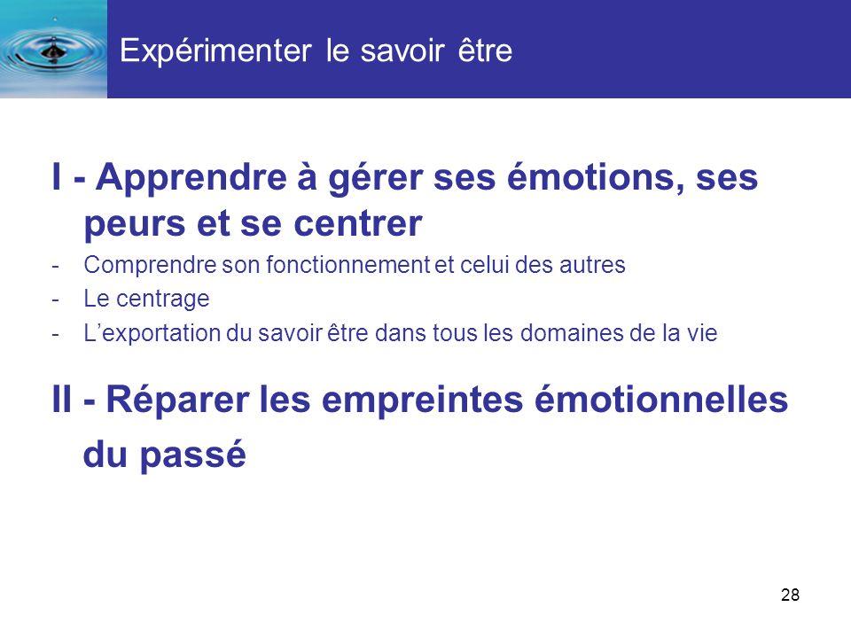 28 Expérimenter le savoir être I - Apprendre à gérer ses émotions, ses peurs et se centrer -Comprendre son fonctionnement et celui des autres -Le cent