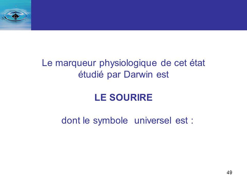 49 Le marqueur physiologique de cet état étudié par Darwin est LE SOURIRE dont le symbole universel est :