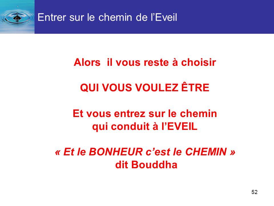 52 Alors il vous reste à choisir QUI VOUS VOULEZ ÊTRE Et vous entrez sur le chemin qui conduit à lEVEIL « Et le BONHEUR cest le CHEMIN » dit Bouddha E