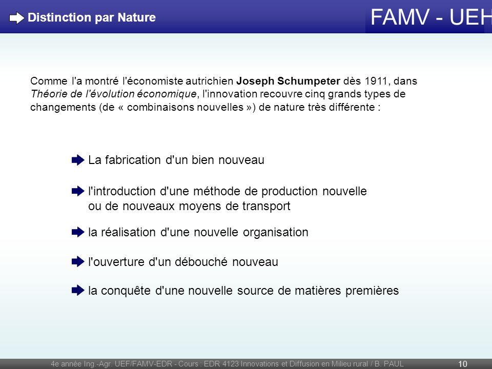 FAMV - UEH 4e année Ing.-Agr. UEF/FAMV-EDR - Cours : EDR 4123 Innovations et Diffusion en Milieu rural / B. PAUL 10 Distinction par Nature Comme l'a m