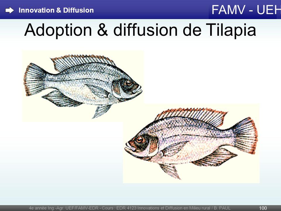 FAMV - UEH Adoption & diffusion de Tilapia 4e année Ing.-Agr. UEF/FAMV-EDR - Cours : EDR 4123 Innovations et Diffusion en Milieu rural / B. PAUL 100 I