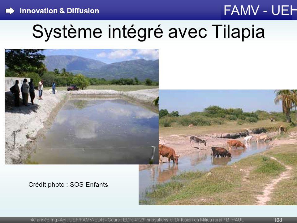 FAMV - UEH Système intégré avec Tilapia 4e année Ing.-Agr. UEF/FAMV-EDR - Cours : EDR 4123 Innovations et Diffusion en Milieu rural / B. PAUL 108 Inno