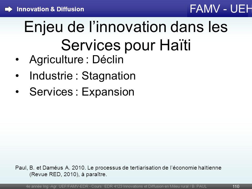FAMV - UEH Enjeu de linnovation dans les Services pour Haïti Agriculture : Déclin Industrie : Stagnation Services : Expansion Paul, B. et Daméus A. 20