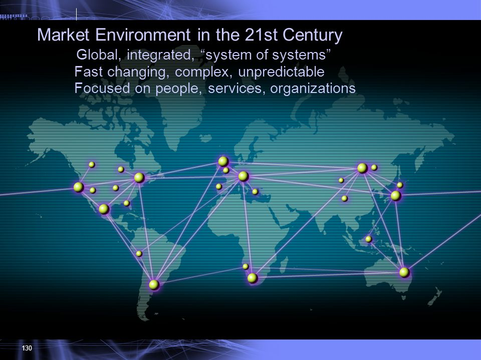 130 Market Environment in the 21st Century Global, integrated, system of systems Fast changing, complex, unpredictable Focused on people, services, or