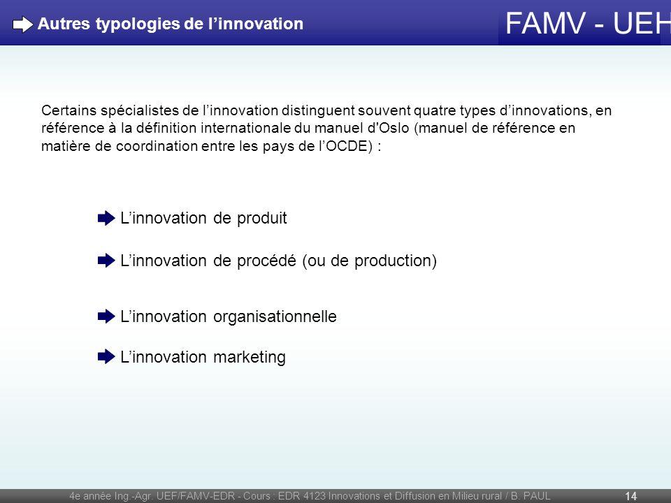 FAMV - UEH 4e année Ing.-Agr. UEF/FAMV-EDR - Cours : EDR 4123 Innovations et Diffusion en Milieu rural / B. PAUL 14 Autres typologies de linnovation C