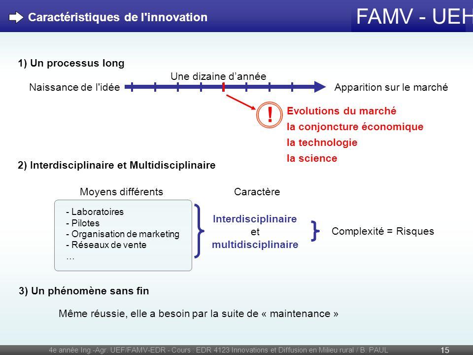FAMV - UEH 4e année Ing.-Agr. UEF/FAMV-EDR - Cours : EDR 4123 Innovations et Diffusion en Milieu rural / B. PAUL 15 Caractéristiques de l'innovation -