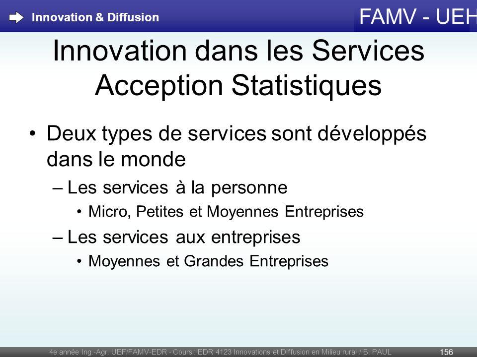 FAMV - UEH Innovation dans les Services Acception Statistiques 4e année Ing.-Agr. UEF/FAMV-EDR - Cours : EDR 4123 Innovations et Diffusion en Milieu r