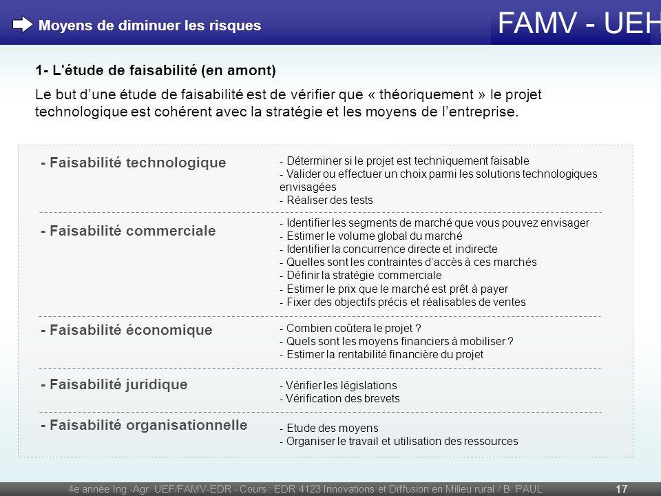 FAMV - UEH 4e année Ing.-Agr. UEF/FAMV-EDR - Cours : EDR 4123 Innovations et Diffusion en Milieu rural / B. PAUL 17 1- L'étude de faisabilité (en amon
