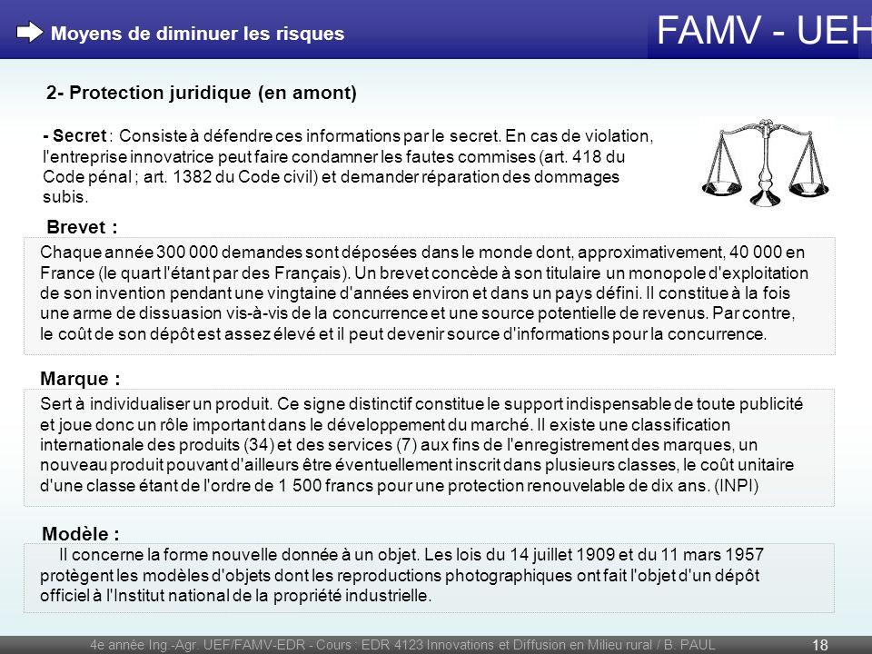 FAMV - UEH 4e année Ing.-Agr. UEF/FAMV-EDR - Cours : EDR 4123 Innovations et Diffusion en Milieu rural / B. PAUL 18 - Secret : Consiste à défendre ces