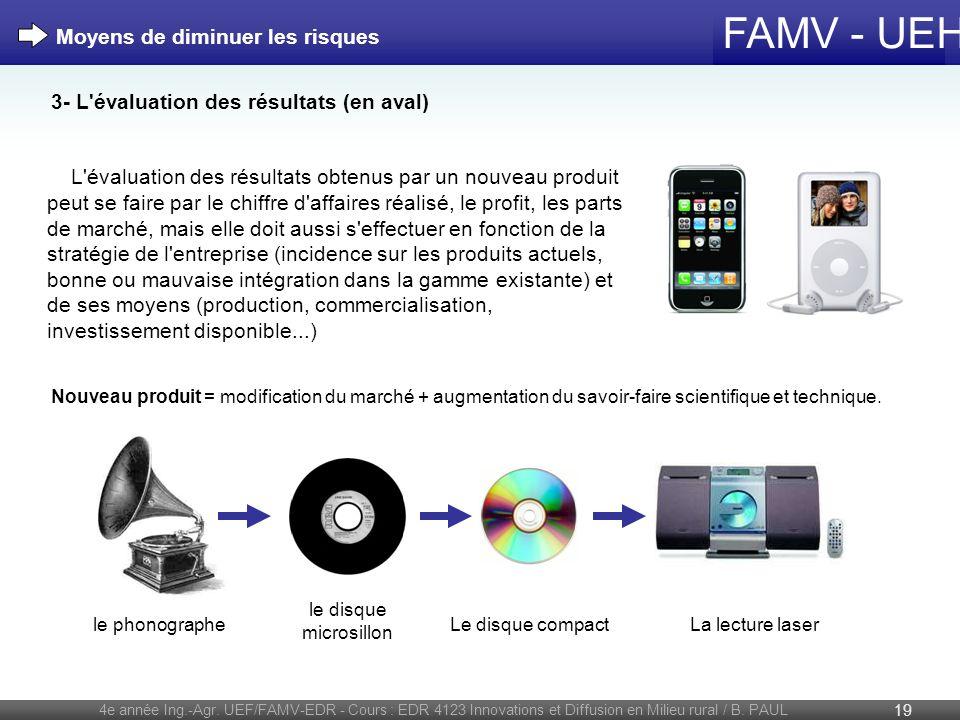 FAMV - UEH 4e année Ing.-Agr. UEF/FAMV-EDR - Cours : EDR 4123 Innovations et Diffusion en Milieu rural / B. PAUL 19 Nouveau produit = modification du