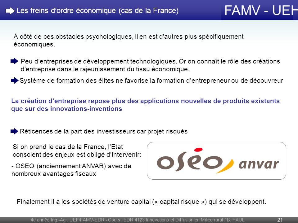 FAMV - UEH 4e année Ing.-Agr. UEF/FAMV-EDR - Cours : EDR 4123 Innovations et Diffusion en Milieu rural / B. PAUL 21 À côté de ces obstacles psychologi