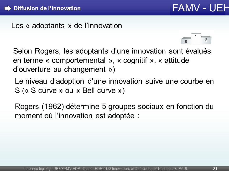 FAMV - UEH 4e année Ing.-Agr. UEF/FAMV-EDR - Cours : EDR 4123 Innovations et Diffusion en Milieu rural / B. PAUL 31 Diffusion de linnovation Les « ado