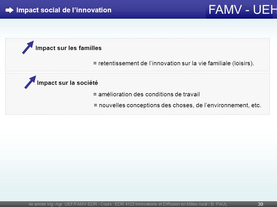 FAMV - UEH 4e année Ing.-Agr. UEF/FAMV-EDR - Cours : EDR 4123 Innovations et Diffusion en Milieu rural / B. PAUL 39 Impact social de linnovation Impac