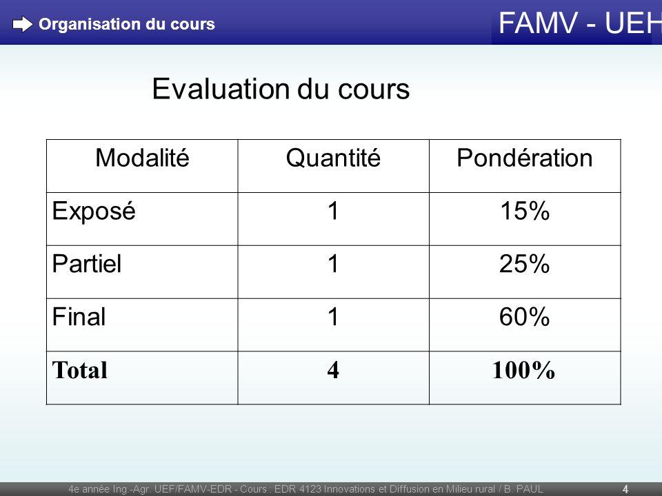 FAMV - UEH 4e année Ing.-Agr. UEF/FAMV-EDR - Cours : EDR 4123 Innovations et Diffusion en Milieu rural / B. PAUL 4 Organisation du cours Evaluation du