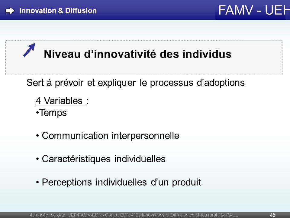 FAMV - UEH 4e année Ing.-Agr. UEF/FAMV-EDR - Cours : EDR 4123 Innovations et Diffusion en Milieu rural / B. PAUL 45 Innovation & Diffusion Niveau dinn