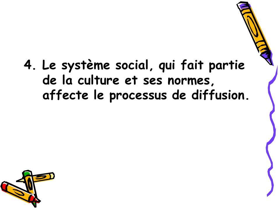 4. Le système social, qui fait partie de la culture et ses normes, affecte le processus de diffusion.