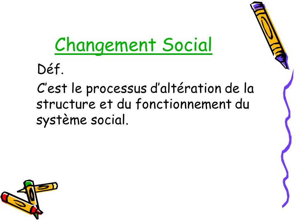 Changement Social Déf. Cest le processus daltération de la structure et du fonctionnement du système social.