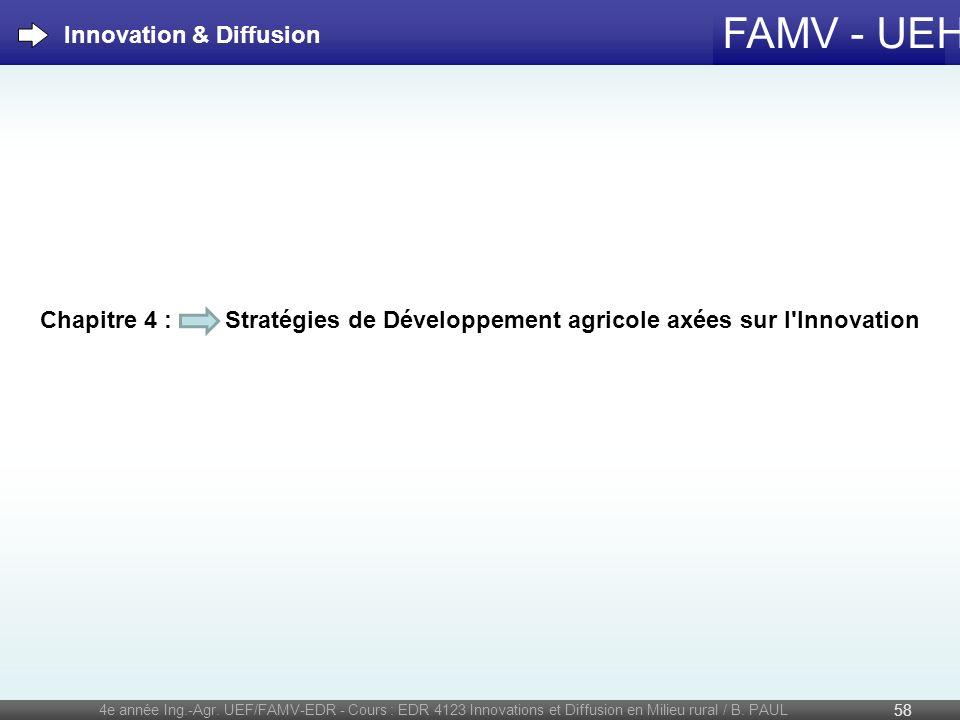 FAMV - UEH 4e année Ing.-Agr. UEF/FAMV-EDR - Cours : EDR 4123 Innovations et Diffusion en Milieu rural / B. PAUL 58 Chapitre 4 : Stratégies de Dévelop