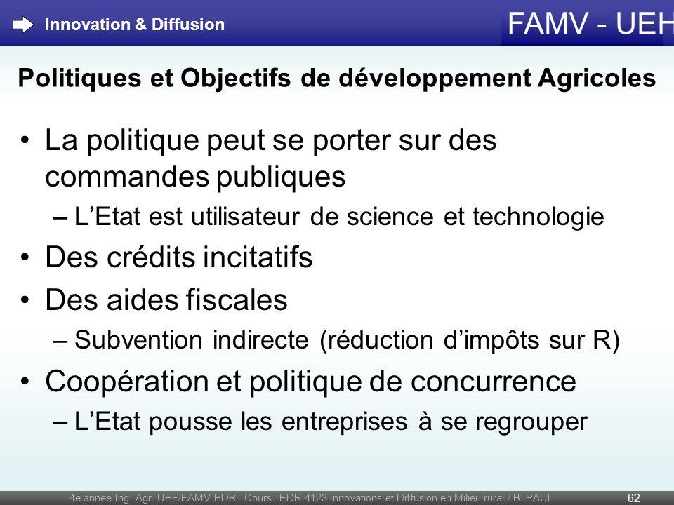 FAMV - UEH La politique peut se porter sur des commandes publiques –LEtat est utilisateur de science et technologie Des crédits incitatifs Des aides f
