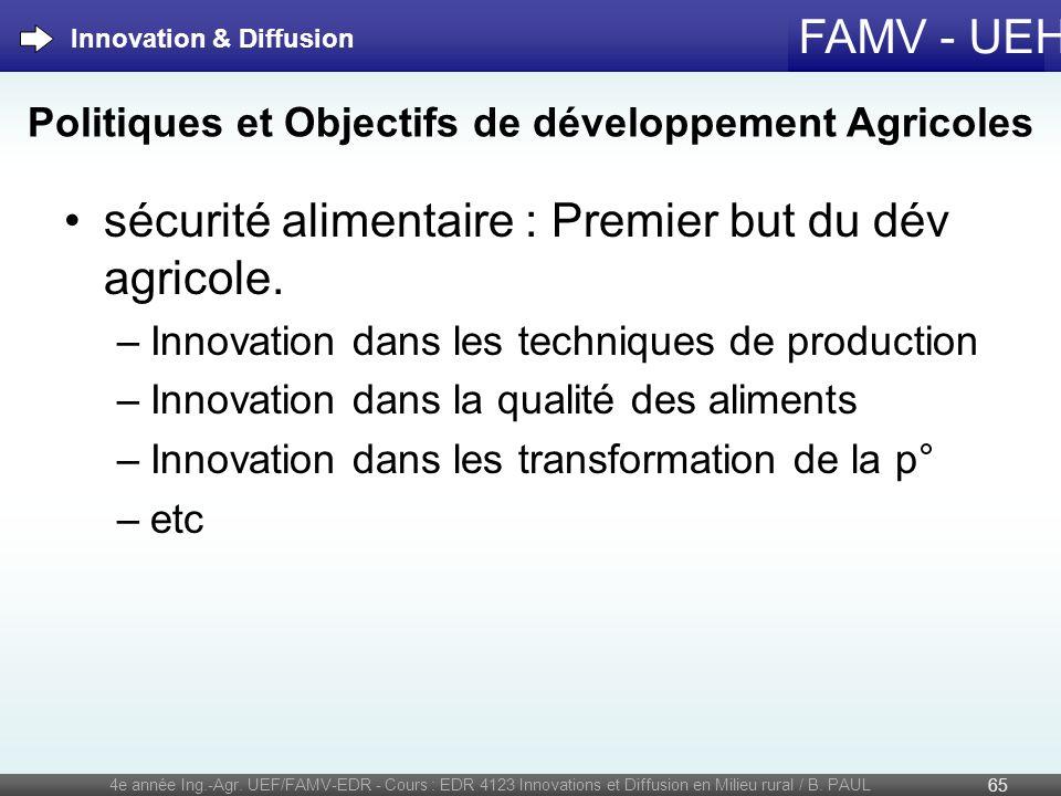 FAMV - UEH sécurité alimentaire : Premier but du dév agricole. –Innovation dans les techniques de production –Innovation dans la qualité des aliments
