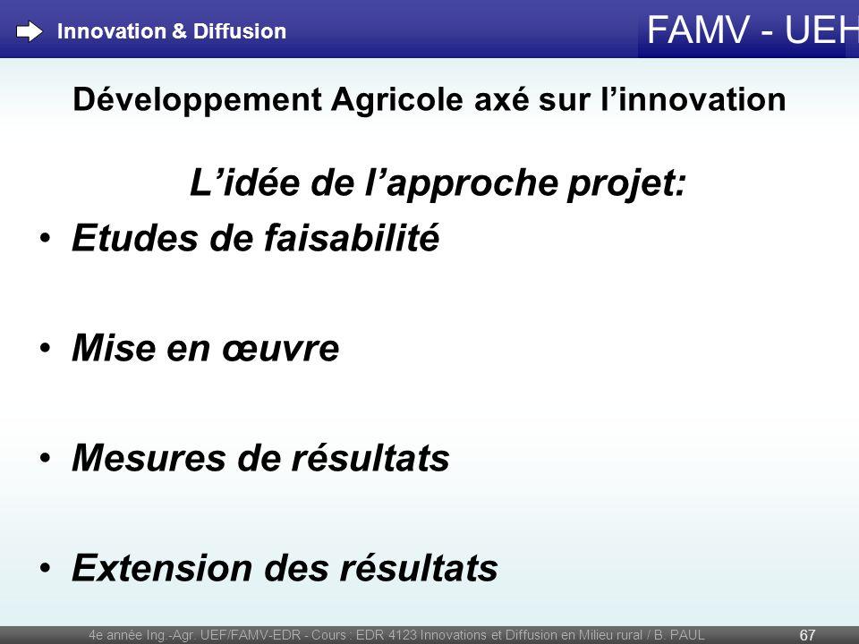 FAMV - UEH Développement Agricole axé sur linnovation Lidée de lapproche projet: Etudes de faisabilité Mise en œuvre Mesures de résultats Extension de