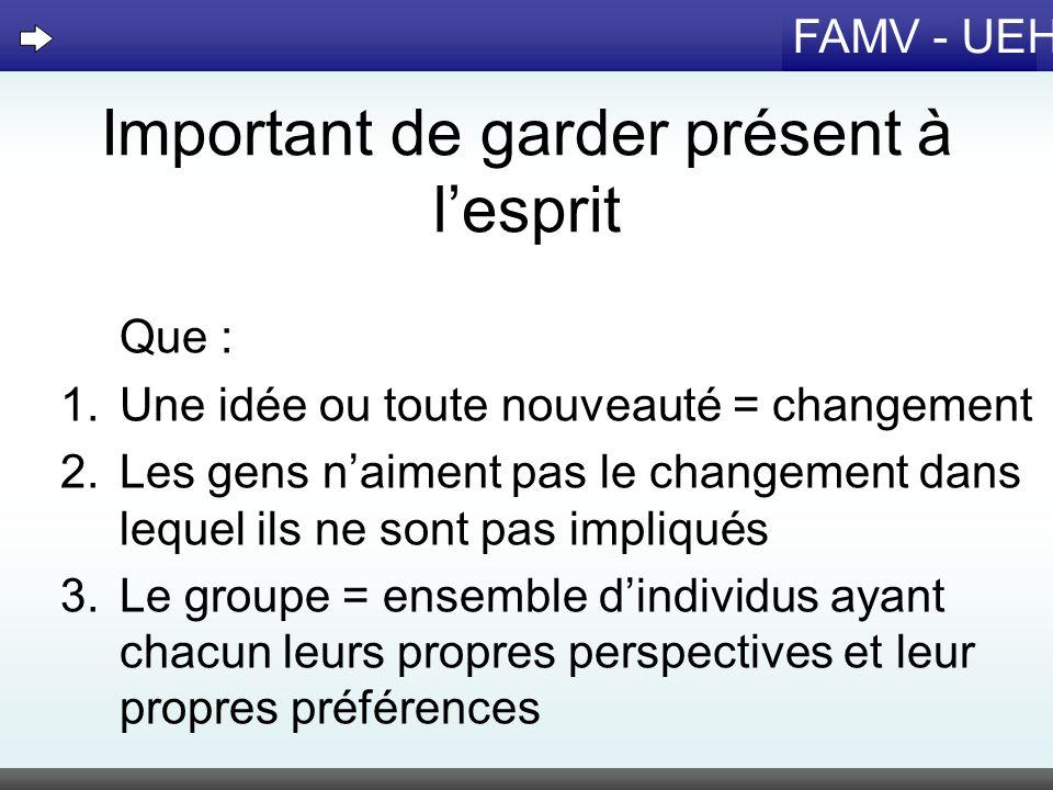 FAMV - UEH Important de garder présent à lesprit Que : 1.Une idée ou toute nouveauté = changement 2.Les gens naiment pas le changement dans lequel ils