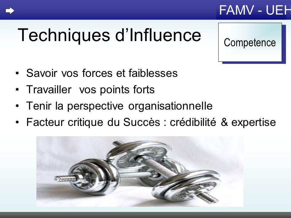 FAMV - UEH Techniques dInfluence Savoir vos forces et faiblesses Travailler vos points forts Tenir la perspective organisationnelle Facteur critique d