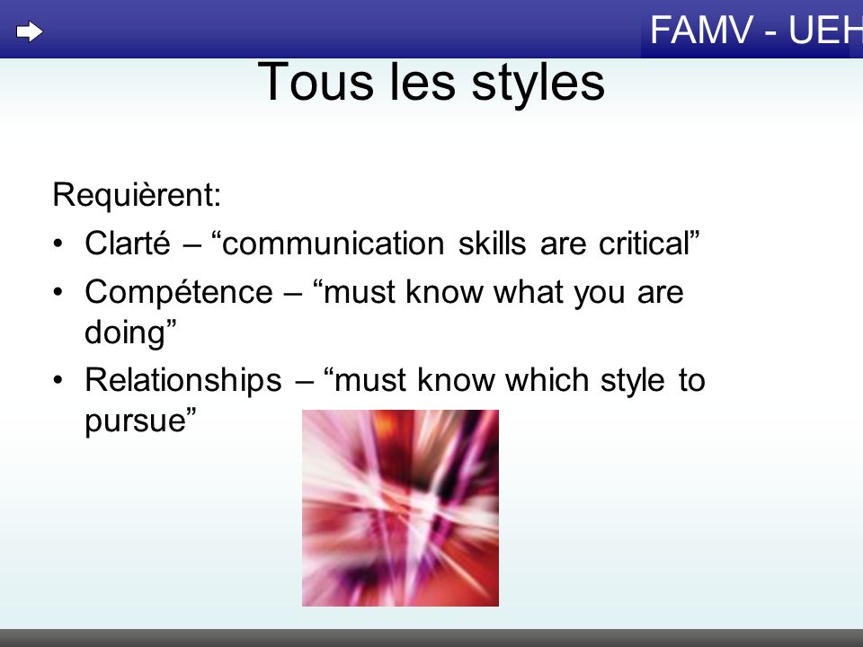 FAMV - UEH Tous les styles Requièrent: Clarté – communication skills are critical Compétence – must know what you are doing Relationships – must know