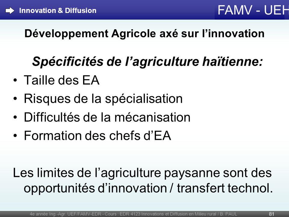 FAMV - UEH Développement Agricole axé sur linnovation Spécificités de lagriculture haïtienne: Taille des EA Risques de la spécialisation Difficultés d