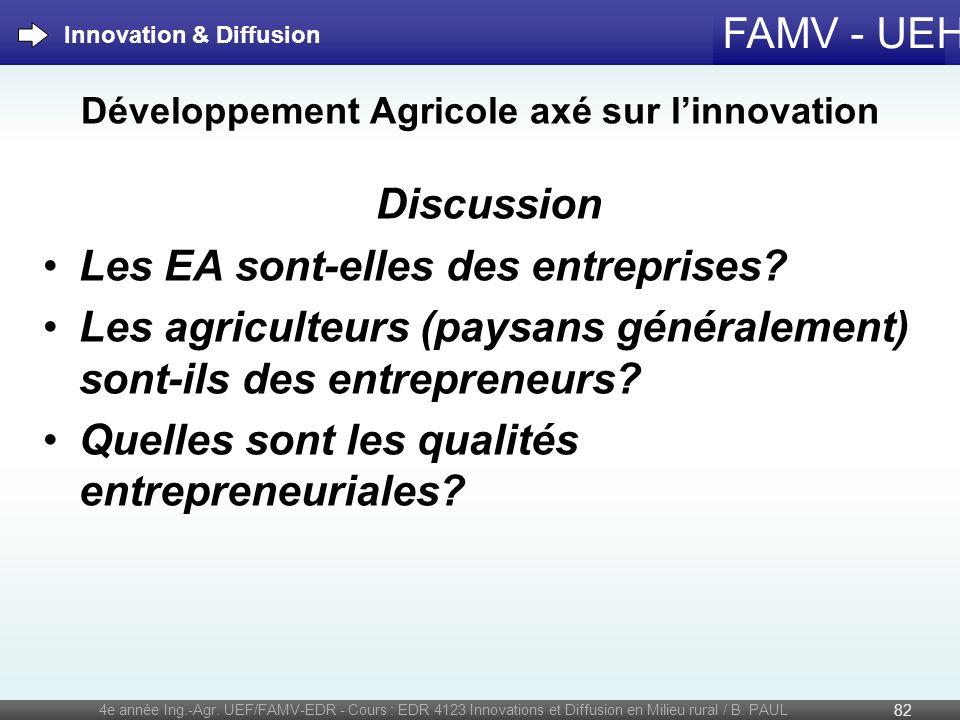 FAMV - UEH Développement Agricole axé sur linnovation Discussion Les EA sont-elles des entreprises? Les agriculteurs (paysans généralement) sont-ils d
